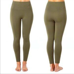 Spanx Look At Me Now cropped olive leggings medium